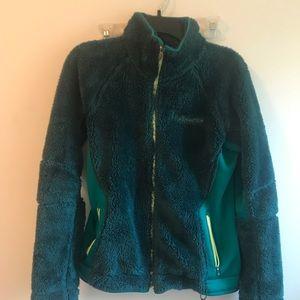 Columbia teal fuzzy jacket